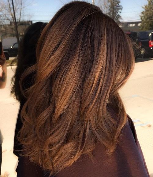 13 dark brown hair with golden brown balayage - Каштановый цвет волос: оттенки, фото, краска, как покраситься