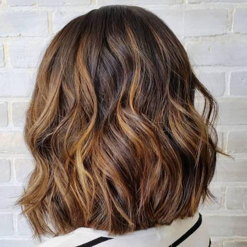 16 Brown bob with golden blonde balayage - Каштановый цвет волос: оттенки, фото, краска, как покраситься