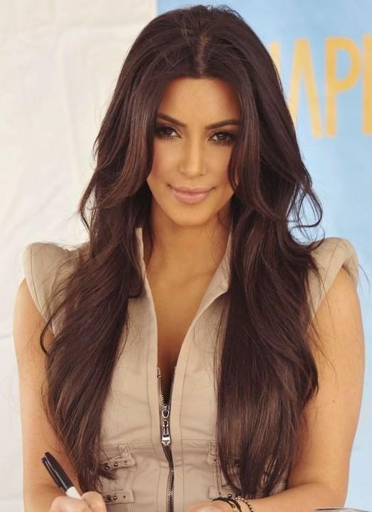 Kim Kardashian Long Hairstyles Brown Hair - Шоколадный цвет волос: фото, краска, кому подходит