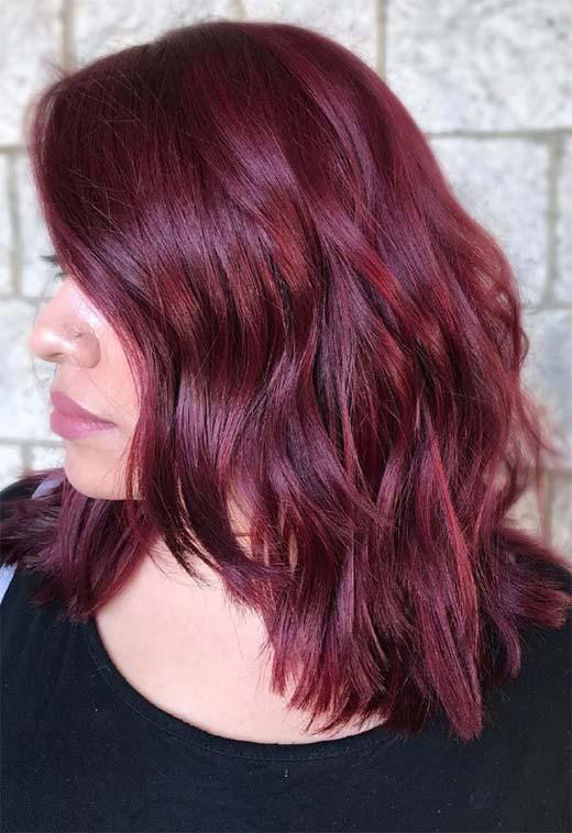 41 - Бордовый цвет волос: оттенки, фото, краска, как покраситься