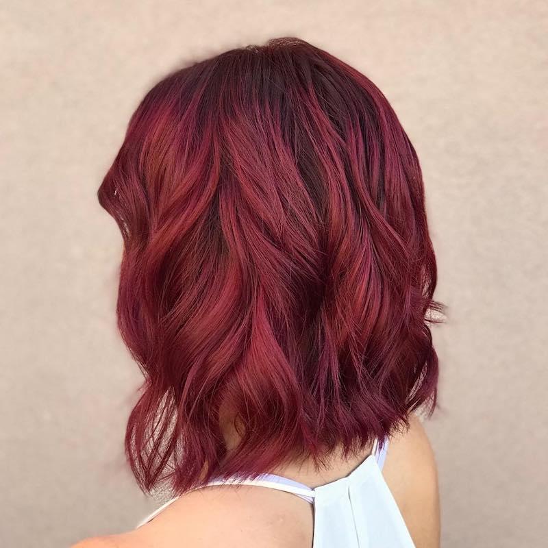 777 - Бордовый цвет волос: оттенки, фото, краска, как покраситься