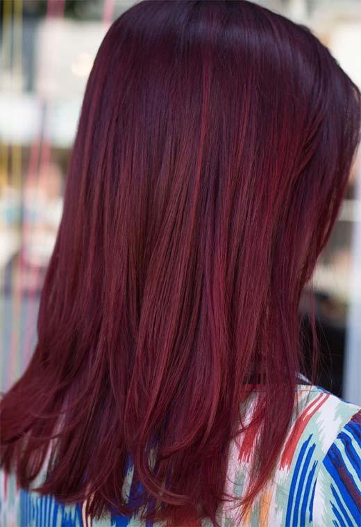 89 - Бордовый цвет волос: оттенки, фото, краска, как покраситься