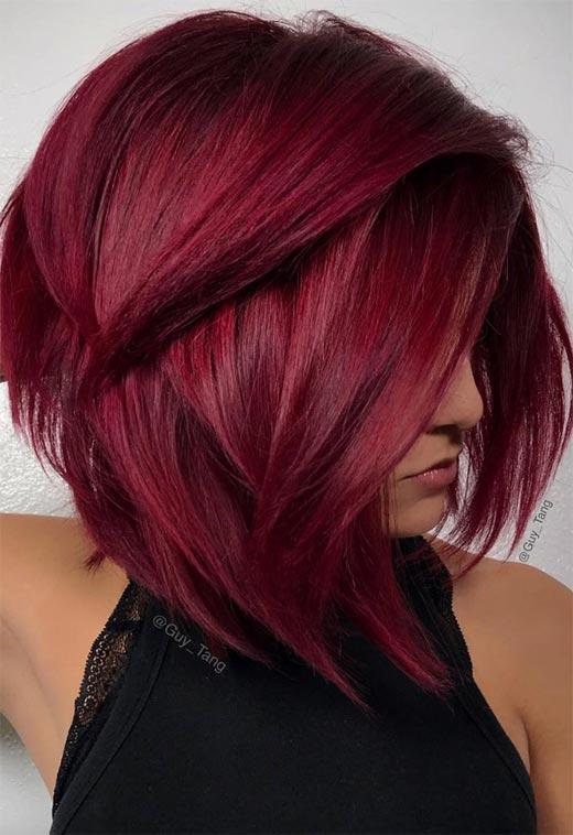 31 - Бордовый цвет волос: оттенки, фото, краска, как покраситься