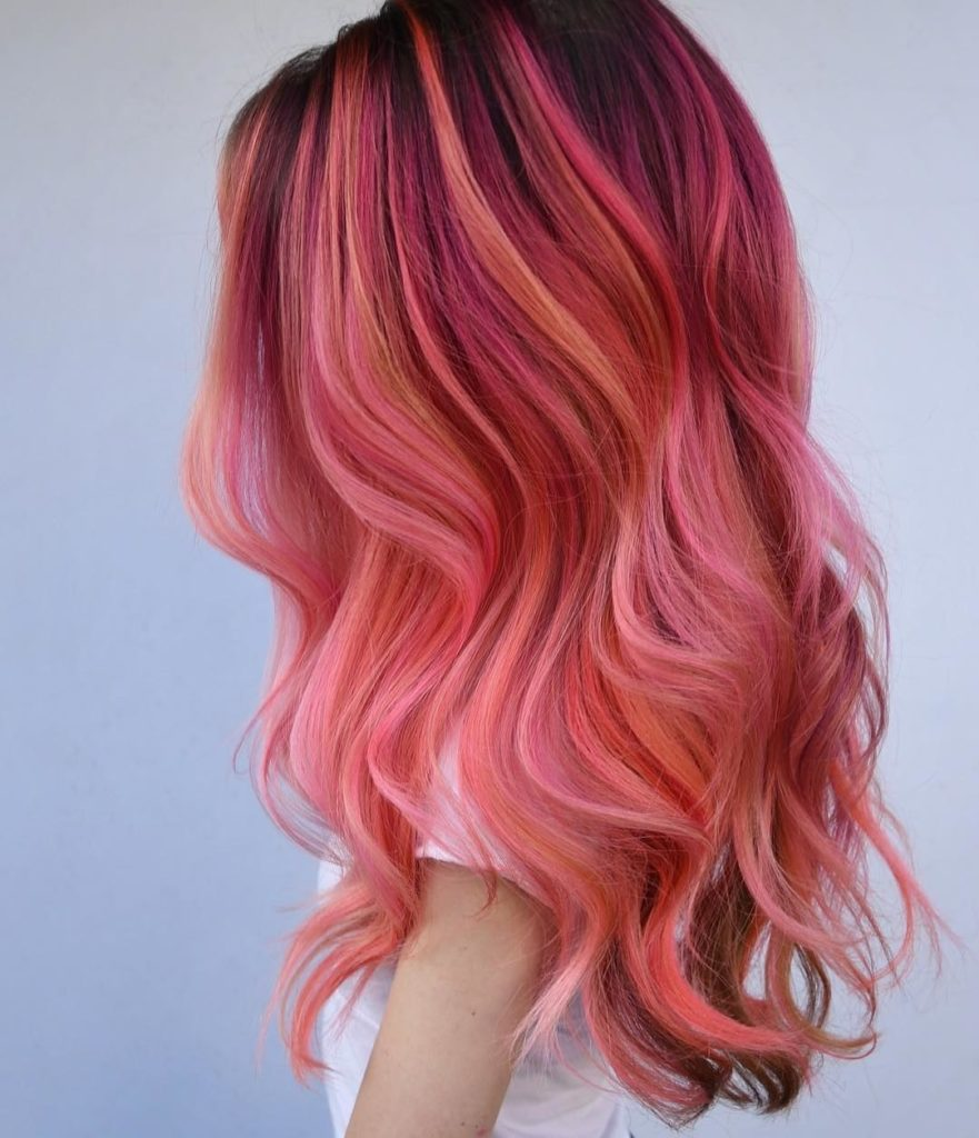 029cc8c1ec82de48fecd5eff9e84d3ce flamingo hair is the prettiest way to go pink this summer allure pink burgundy hair color 1080 1255 881x1024 - Бордовый цвет волос: оттенки, фото, краска, как покраситься