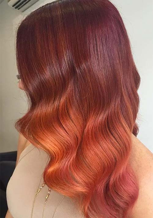 burgundy orange - Бордовый цвет волос: оттенки, фото, краска, как покраситься