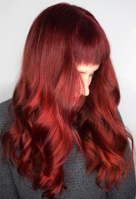 burgundy red - Бордовый цвет волос: оттенки, фото, краска, как покраситься