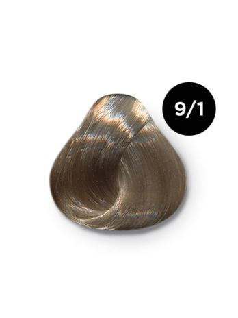 Ollin Color 9.1 блондин пепельный, 60 мл/100 мл. Перманентная крем краска для волос